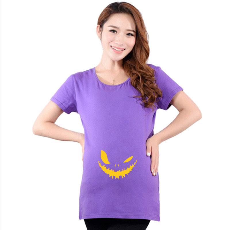 funny halloween pumpkin cartoon maternity shirt top pregnancy clothing great gift cheap tees casual plus size xxl in tees from mother kids on