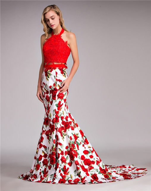Online Shop Sexy Red Long Tight Fitted 2 Piece Prom Dresses 2017