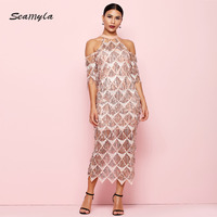 Seamyla New Arrival Sequines Dress Women Elegant Sleeveless Celebrity Party Dresses Mid Calf Mesh Bodycon Dress Sexy Clubwear