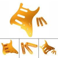 Guitar Accessories Electric Guitar Gold Celluloid Pickguard Scratch Plate Pick Guard + 3pc Guitar Single Coil Pickup Cover