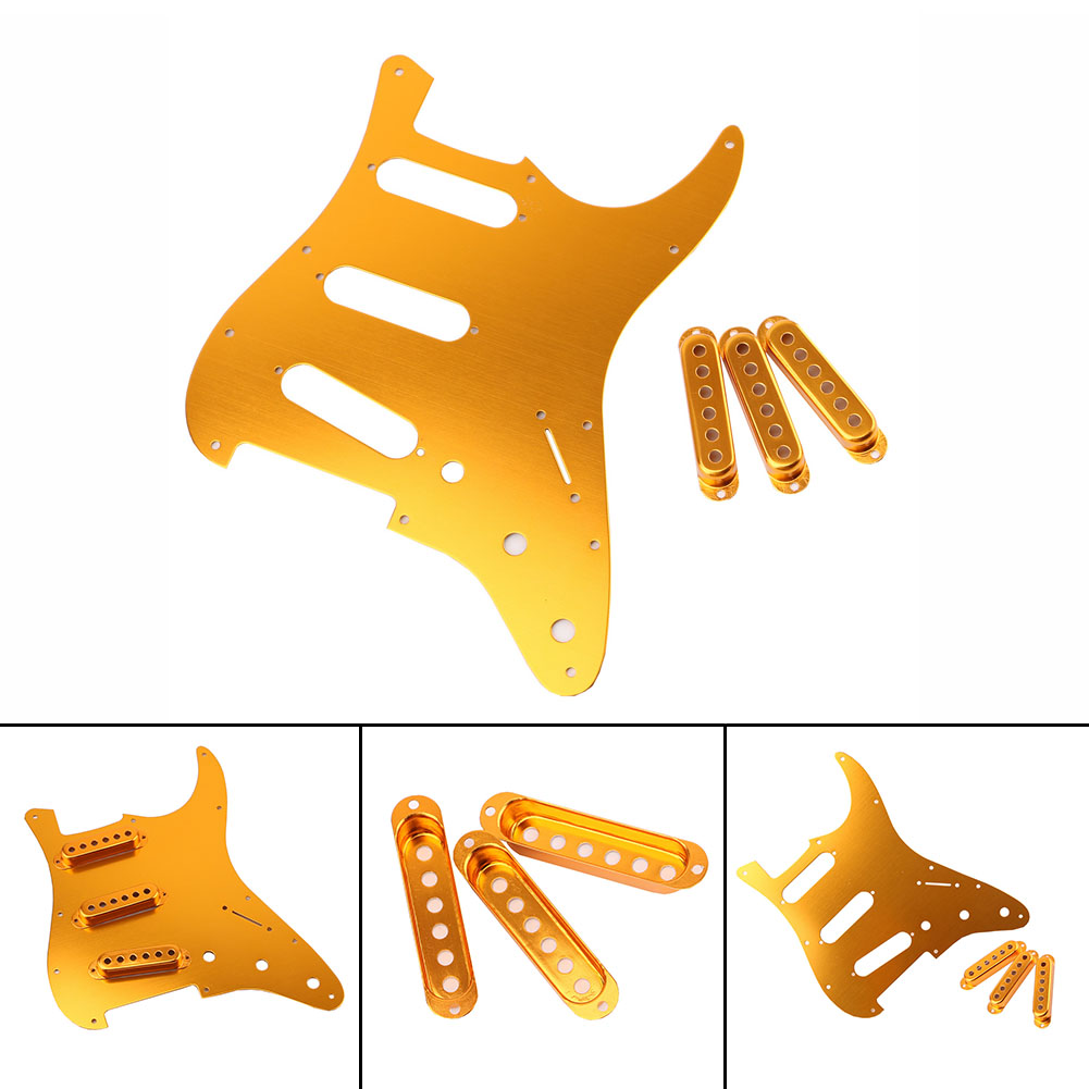 Guitar Accessories Electric Guitar Gold Celluloid Pickguard Scratch Plate Pick Guard + 3pc Guitar Single Coil Pickup Cover musiclily 3ply 290 435mm electric guitar bass pickguard material pick guard scratch plate sheet blank