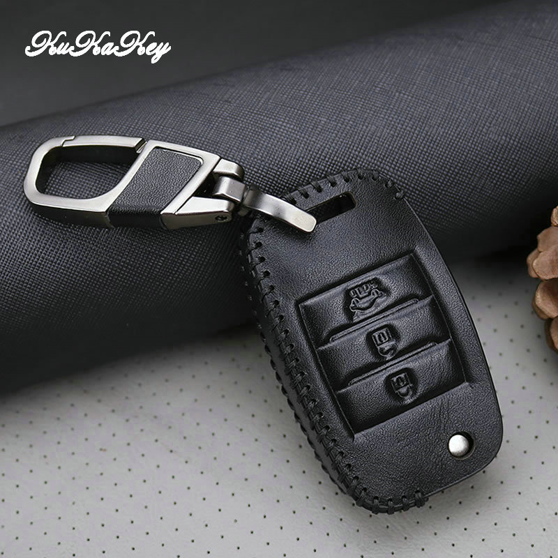 Genuine Leather 3Button Smart Key Case Cover For KIA Sid Rio Soul Sportage Ceed Sorento Cerato K2 K3 K4 K5 Car Styling in Key Case for Car from Automobiles Motorcycles