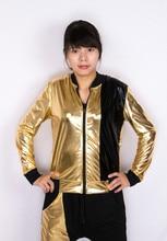 New Fashion Women Men Jacket Gold Black Paillette Patchwork zipper Silm Hip Hop Stage Performance Coat