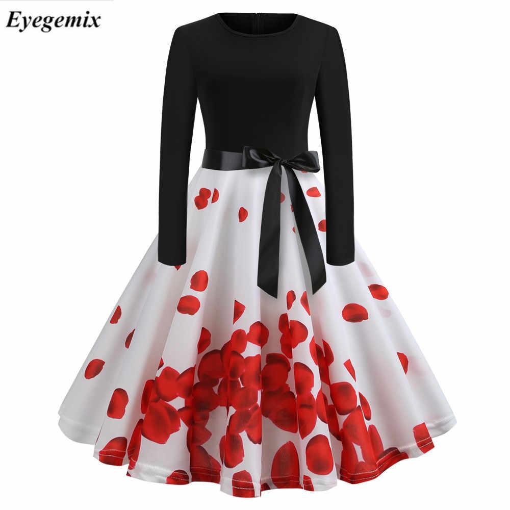 2019 música nota impressão elegante vestidos de festa feminino 50s 60s retro vintage robe rockabilly vestido plus size casual inverno midi vestido