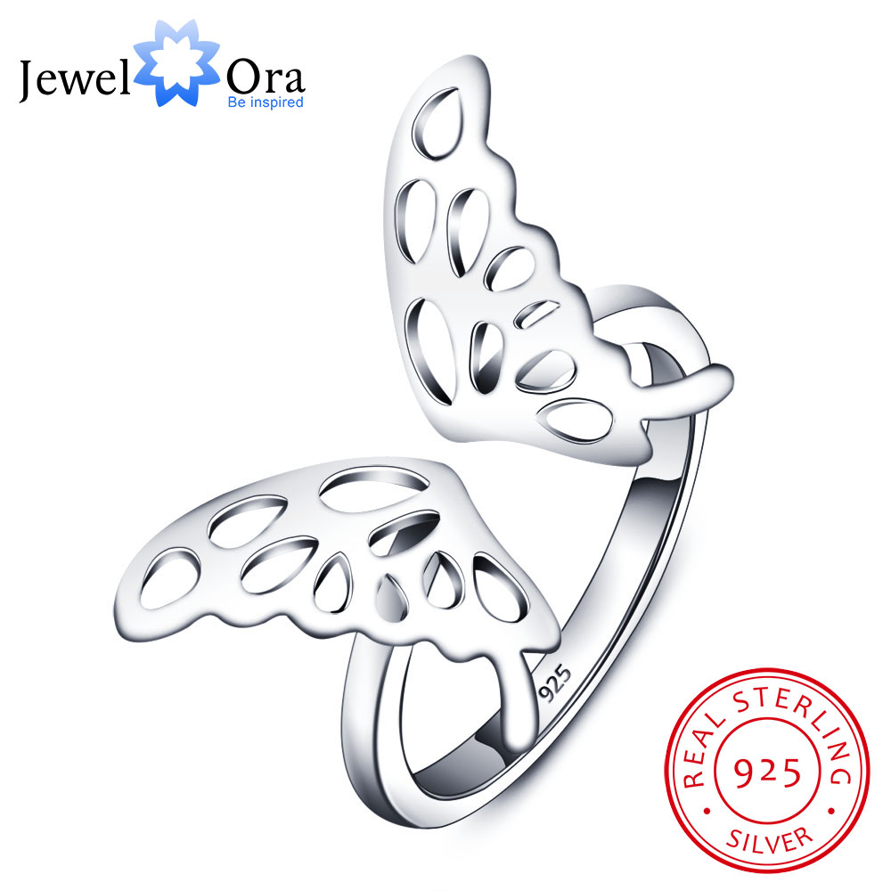 Adjustable Butterfly Accessories 925-Sterling-Silver Rings For Women New 2015 Party Fine Jewelry (JewelOra RI101719) mariposa en plata anillo