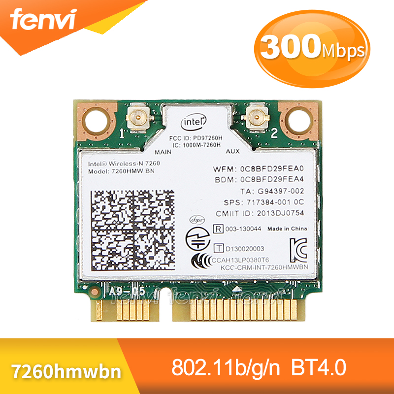 Wireless Network Wlan Adapter For Intel 7260 7260HMW BN 802.11bgn 300Mbps Wifi+Bluetooth 4.0 Half Mini PCI-E Card Fit Dell Asus