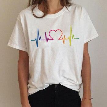 Lgbt T Shirt Women Gay Pride Shirt Lesbian Rainbow T-shirt Harajuku Ullzang Funny Tshirt 90s Graphic Love Is Love Top Tee Female 14