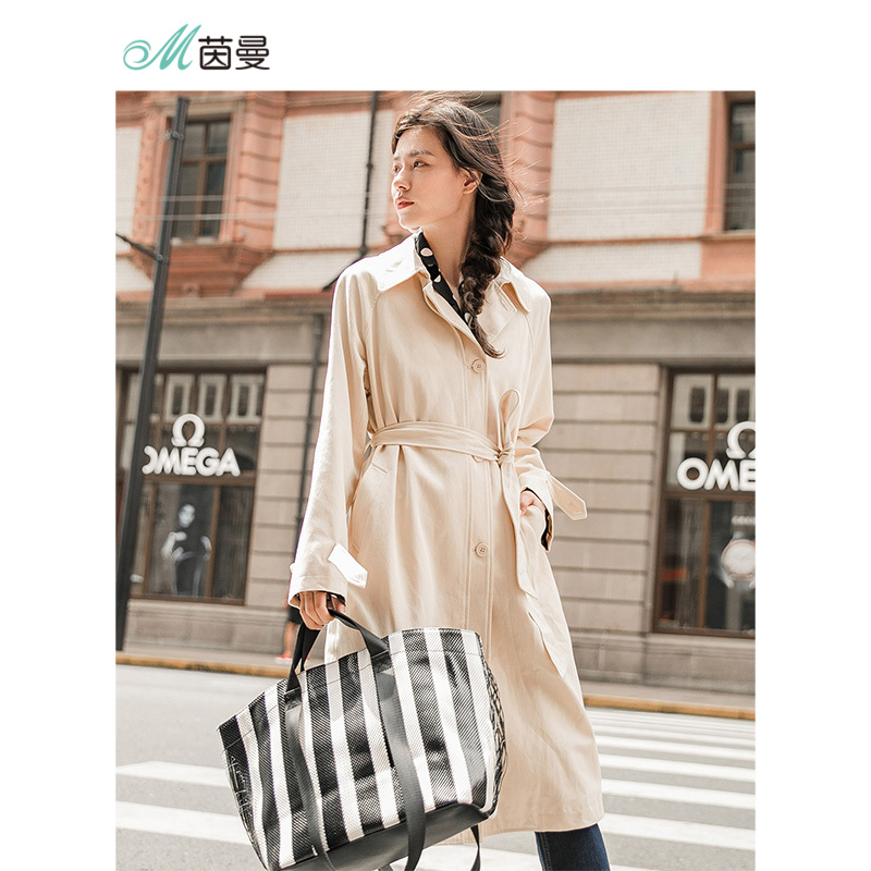 INMAN New Arrival Turn Down Collar Show Waist With Bandage Long Sleeve Loose Style A Line Shape Women   Trench   Long Coat