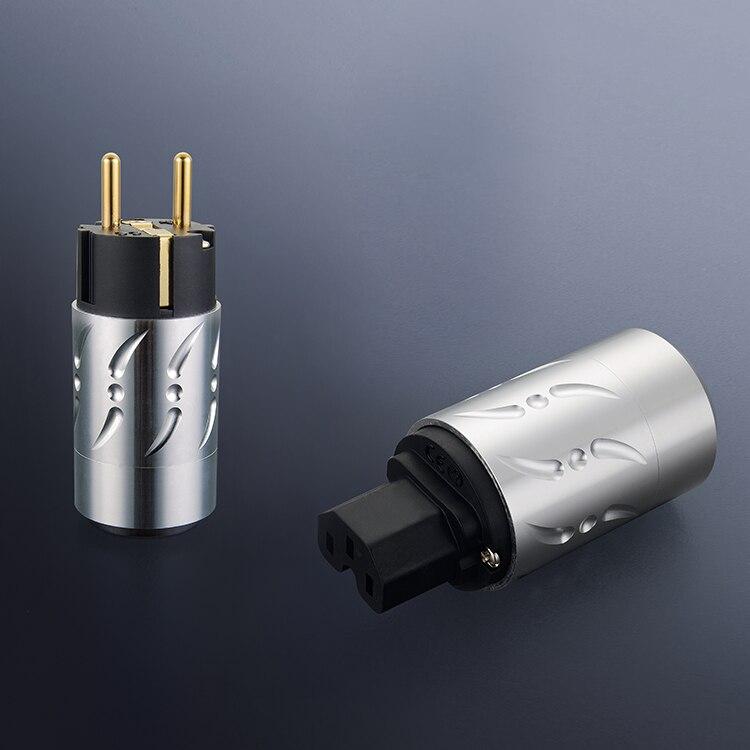 Pair Viborg VE502G VF502G 100 Pure Copper EU Euro Power Connecotor Schuko plug IEC Female Plug