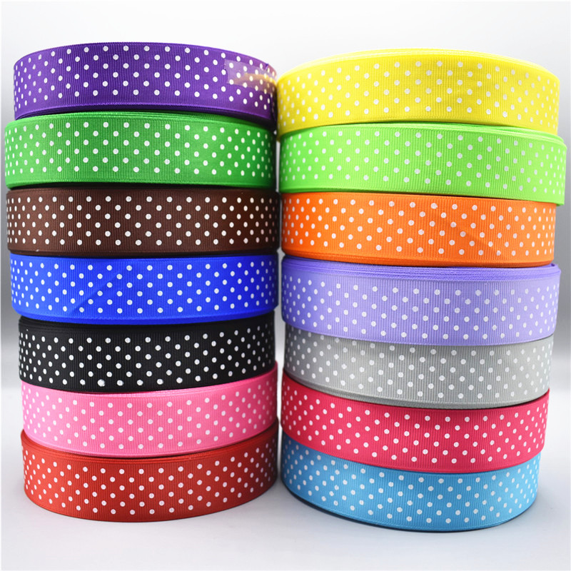 5Yards/Lot Polka Dot Grosgrain Fabric Ribbon 2.5CM Width Satin for Gift Package Wrapping Accessories Making Sewing Lace Ribbons|Ribbons| |  - AliExpress