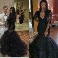 Preto Meia Manga Sereia Vestidos de Noite 2017 Nova Apliques V Neck Mermaid Prom Vestidos vestido longo vestido de Festa