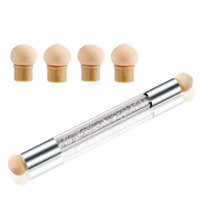 Nail Art Glitter Powder Sponge Brush Rhinestone Gradient Painting Pen Manicure Accessory Tool Double Head недорого