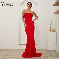 Yesexy 2019 Sexy Women V Neck Off Shoulder Backless Vestidos Summer Dresses Maxi Women Mermaid Dress VR18409