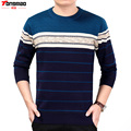 Winter New Plus Velvet Thickening Full Pullovers O-neck Striped Business Casual Fashion Warm Sweater