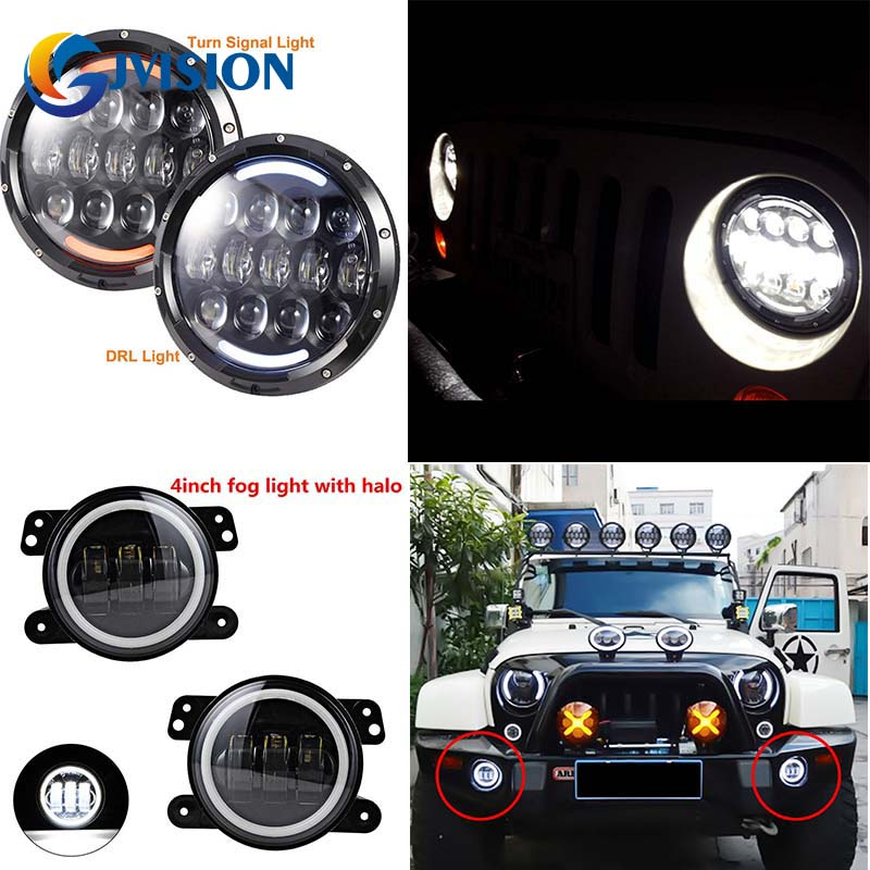 7 INCH LED 12V 105W Headlight with DRL High/Low beam Headlamp and 4'' led fog light white Halo Angel eyes for Jeep Wrangler JK 2pcs 7 inch round led headlight with white amber lighting color drl 7 high low beam headlamp for jeep wrangler