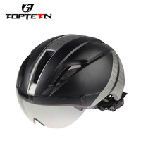TOPTOTNMens Mountain Bike Cycling Helmet With Lens Visor Ultralight Integrally Molded Bicycle Helmet