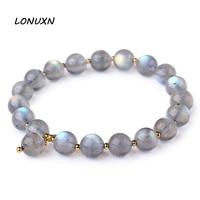 6mm filles Haute qualité femelle bijoux gris Moonstone Bracelet Naturel semi-précieux pierres or unique longue main chaîne simple