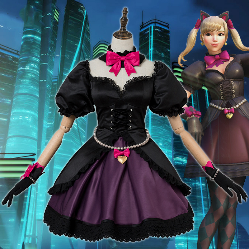 Anime! Game OW D.VA Black Cat Skin Gothic Lolita Dress ...