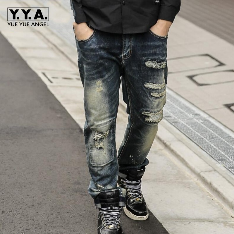 Fashion Baggy Hole Ripped Mens Jeans Retro Washed Masculina Pants Full Length Straight Jeans Plus Size 36-46 Denim Jean Trousers