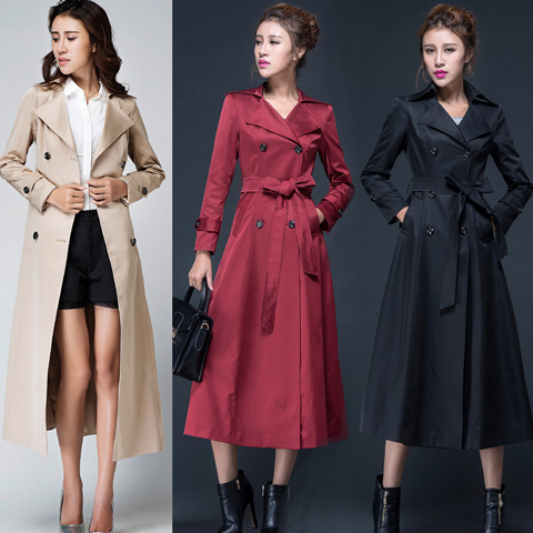 British Style X-long   Trench   Coat For Women Double Breasted Autumn Maxi Plus Size Coat Slim Solid Women's Windbreaker 5 Colors