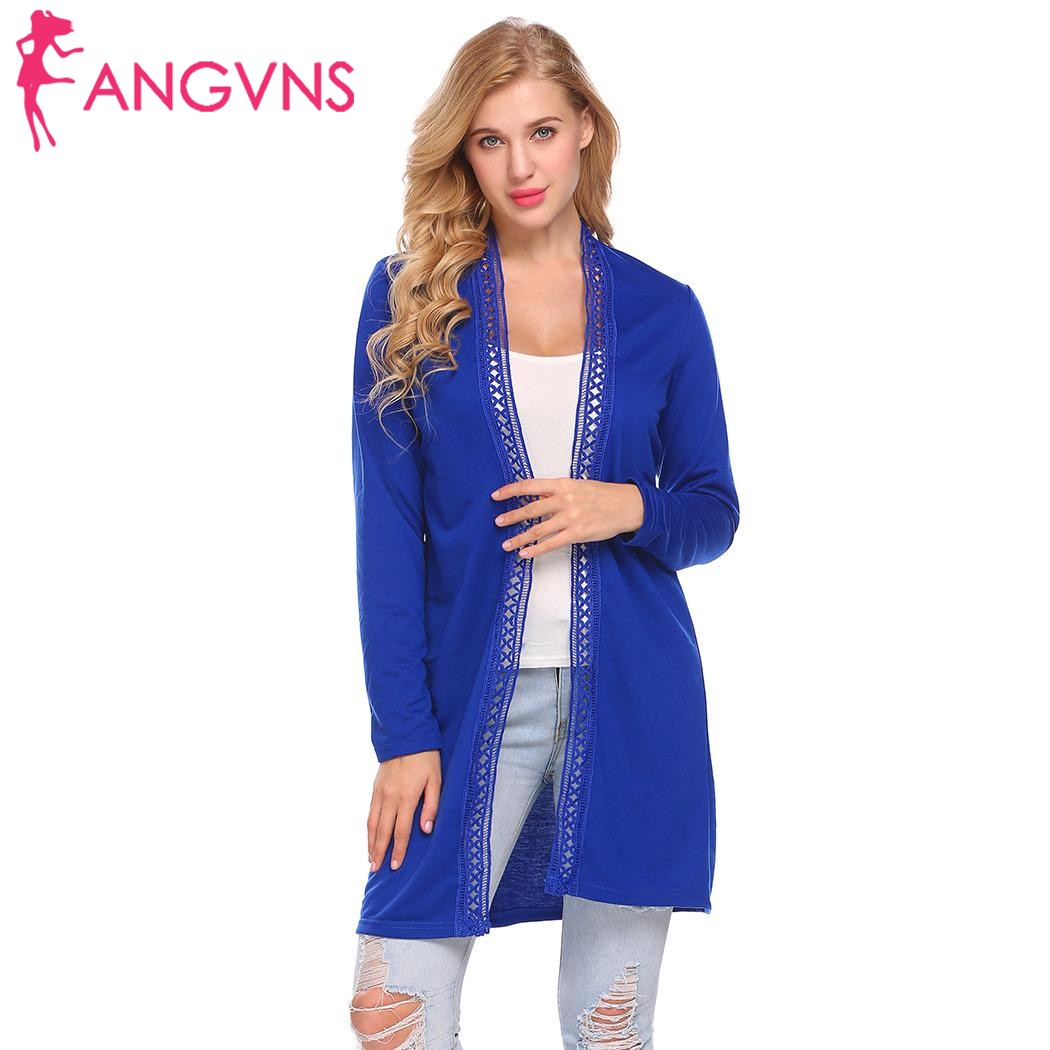 ANGVNS Women Loose Cardigan Open Front Hollow Lace Trim Casual Fit Long Sleeve Spring Autumn Elegant Cardigans Ladies Outwears