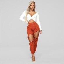 дешево!  2019 новые джинсы женские джинсовые брюки Strech Hole женские джинсы рваный карандаш с высокой талие