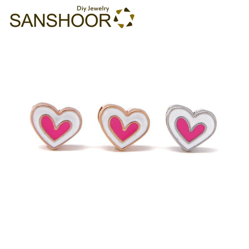 SANSHOOR Oil Drop Pink Heart Slide Charms Fit 8mm Wrap Leather Keeper Bracelet Mesh Armband For Toddler Childs Women Gifts 6Pcs