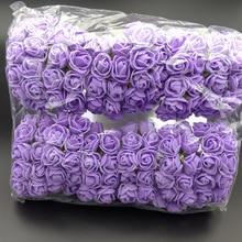 144pcs 2cm Mini Foam Rose Artificial Flower Bouquet Wedding Car Decoration Multicolor