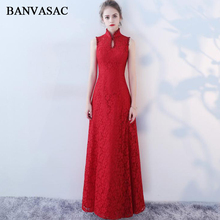 BANVASAC 2018 Crystal High Neck Beading A Line Long Evening Dresses Elegant Lace Embroidery Open Back Party Prom Gowns