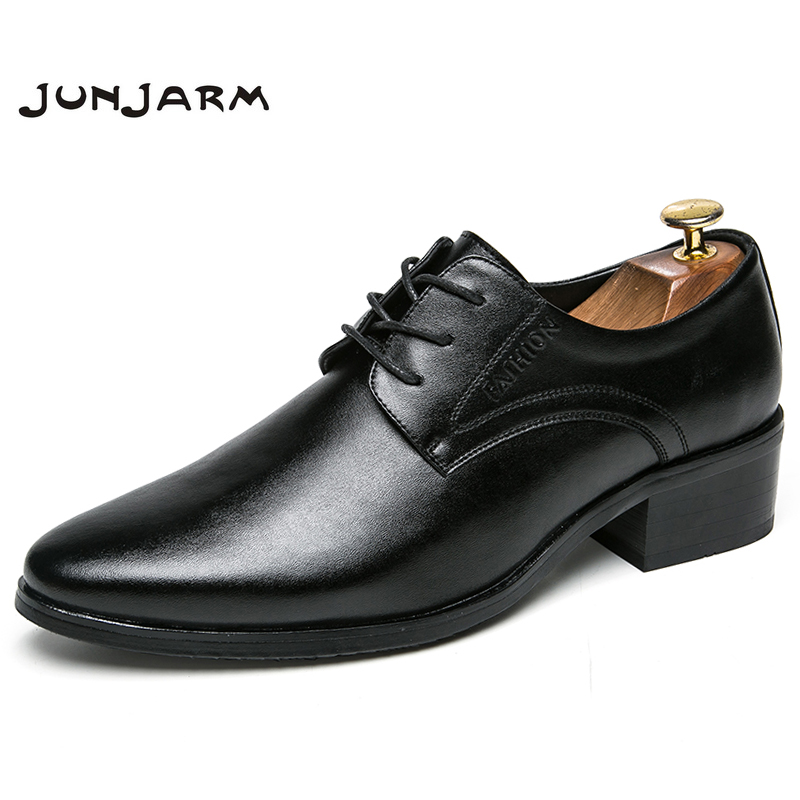 JUNJARM 2018 New Mens Dress Shoes Black Classic Point Toe Oxfords For Men Formal Shoes Brand Mens Business Party Shoes hot sale luxury brand men classic oxfords italian mens leather dress shoes new men formal shoes black white patch flowers 39 46