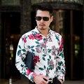 2016 floral camisa de los hombres M-5XL 6XL 7XL C6150 camisas de los hombres camisas de vestir camisas hombre camisa masculina sociales