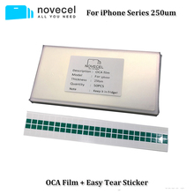 Novecel 50pcs 250um OCA Film for iPhone 5 6 6S 7 8 Plus X XR XS Max Optical Adhesive Sticker Touch Glass Lens Replacement
