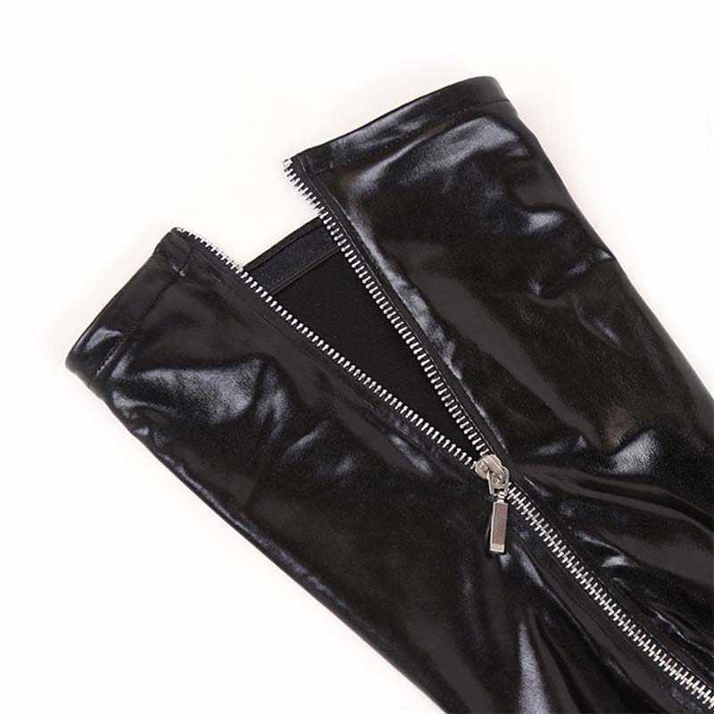 เซ็กซี่ผู้หญิงเงา Wet Look ต้นขาสูงถุงน่องซิปด้านหลัง Stay Up Leggings Latex สไตล์เครื่องรางชุดชั้นใน