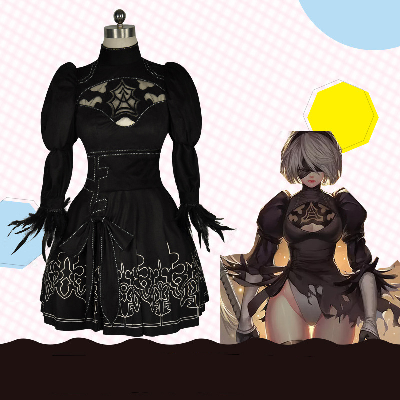 2 Dress Cosplay Costume Gothic Suit Gown NieR:Automata 2B A2 YoRHa Type A No