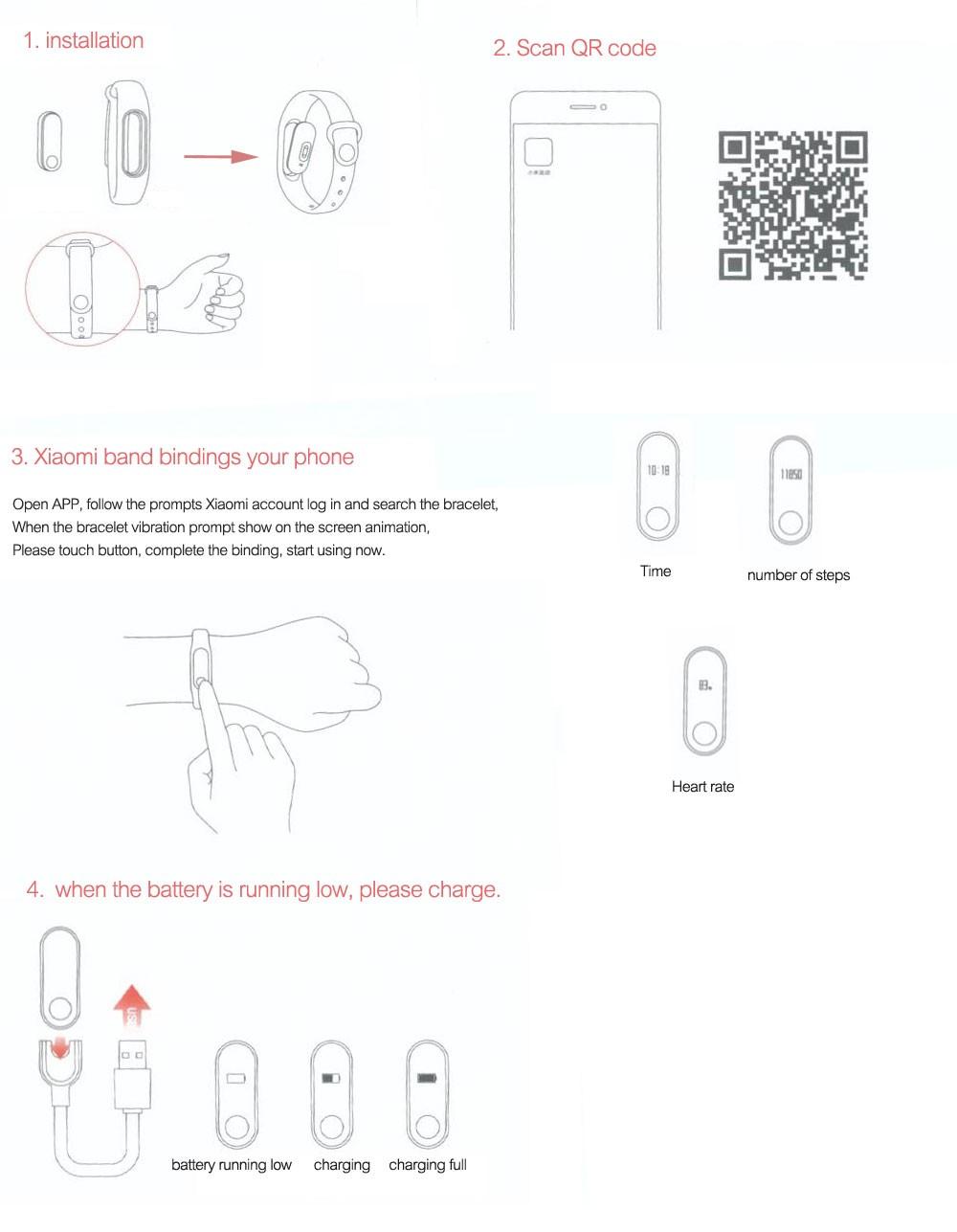 Xiaomi Mi Band 2 Miband 2 Smart Bracelet Wristband Band Fitness Tracker Bracelet Smartband Heart rate Monitor 100% Original (1)