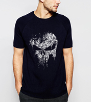 Supper Hero Series Punisher Skull Personality T Shirts 2016 Summer Casual Plus Size 100 Cotton High