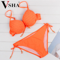Vsha Women Sling Bikinis Suit Fashion Fold Bra Orange Color S M L XL Swimsuit Summer