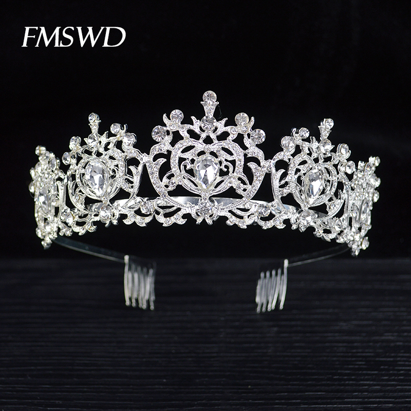 New Vintage Silver Color Rhinestone Crystal Tiara For Queen Baroque Wedding Crown Comb For Bridal Hair Accessories Hair Jewelry