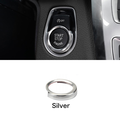 SING F LTD Engine Start Ignition Key Ring Cover Silver Compatible with Car