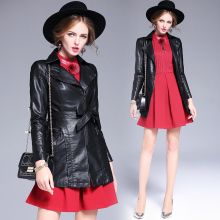 High Quality Faux Leather Jacket Slim Biker Motorcycle Soft Zipper girl PU Leather Lady Basic Cool Outerwear Coat with Belt C225