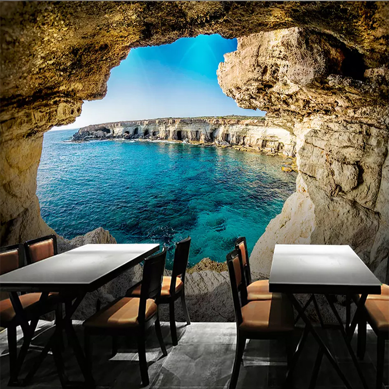 Custom Photo Wallpaper 3D Cave Seascape Mural Modern Living Room Sofa TV Background Wall Painting Wall Papers Home Decor Picture