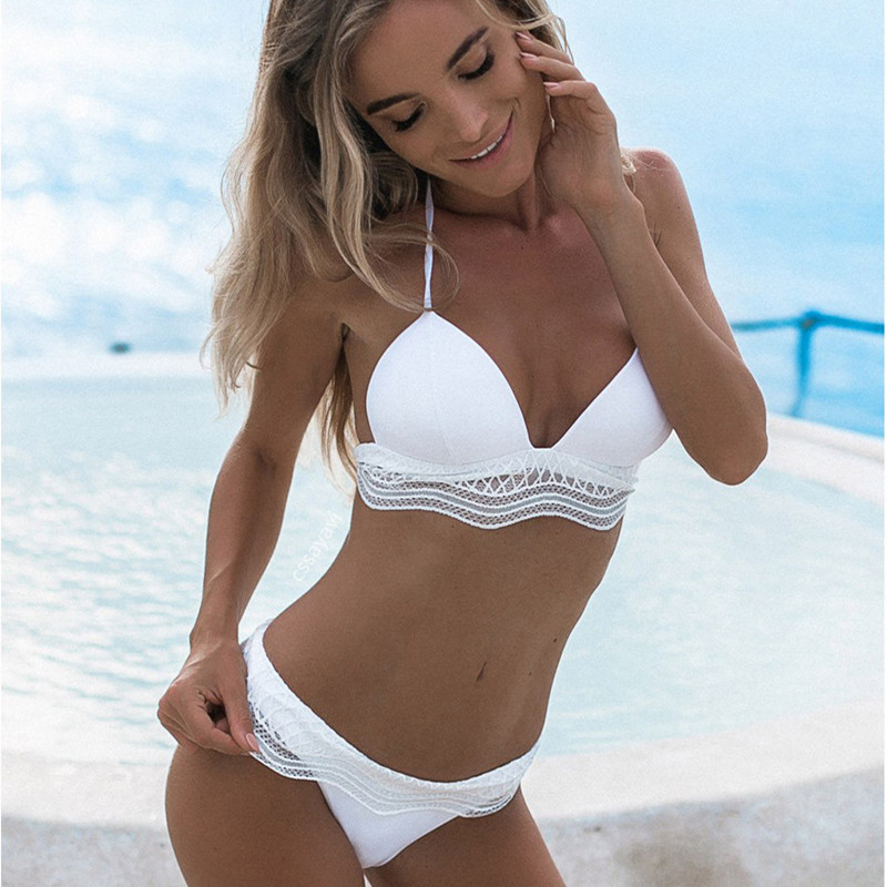 2017 neue Reizvolle Weiße Biquini Halter Badeanzug Badeanzug Beachwear Badebekleidung Frauen Brazilian Push Up Micro Bikini