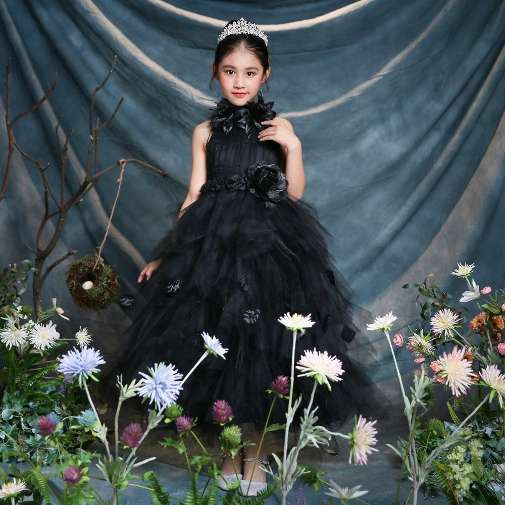 Real Photo Flower Girl Dress Appliques Black Evening Party Gowns Sleeveless Ball Gown For Wedding Kids First Communion Dress A84 hot sale champagne lace appliques first communion dress ball gown with bow kids evening gown flower girl dress for wedding