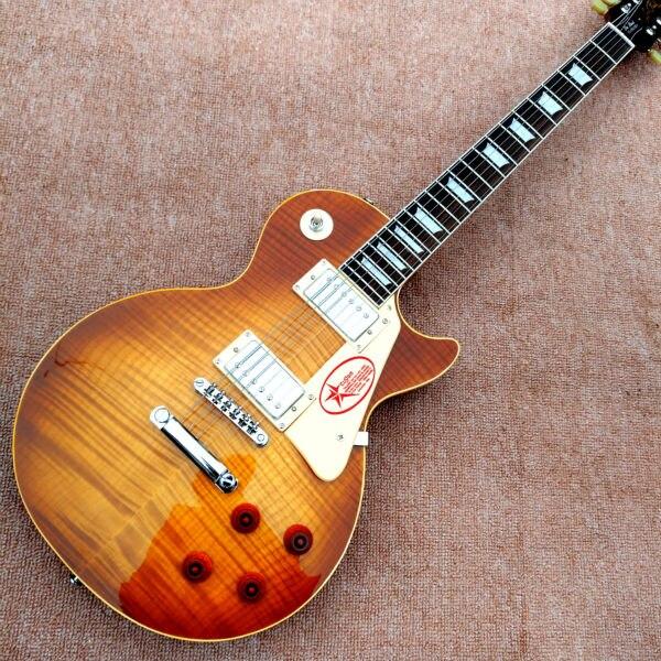 En gros Custom shop 1959 R9 Tiger Flame guitare électrique Standard LP 59 électrique guitare CHAUDE!