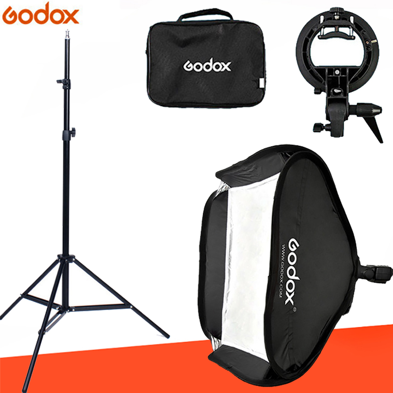 Godox Ajustable Flash Softbox 80cm 80cm S type Bracket Mount Kit with 2m Light Stand for