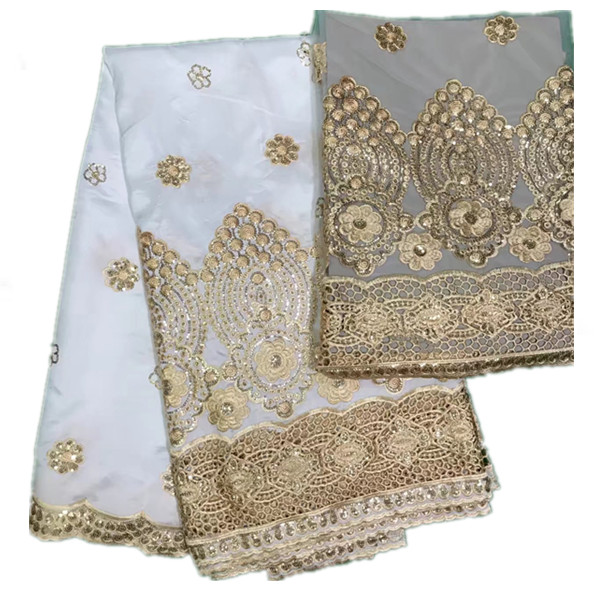 AP43 design african george lace fabric High quality Nigerian white satin george lace fabrics for wedding dress Indian laces