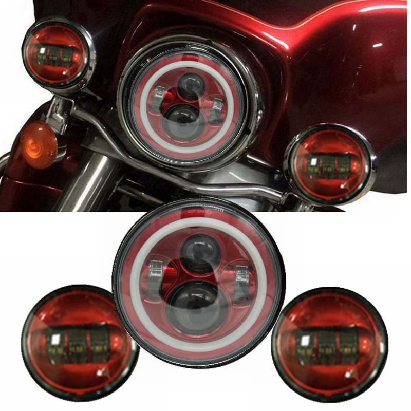 все цены на Red Set 7 Inch Harley Daymaker LED Headlight & 4-1/2