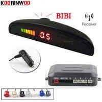 KOORINWOO 무선 자동차 주차 센서 4 레이더 다채로운 LED 디스플레이 모니터 자동차 경고 표시기 BIBI 12V Parktronics 시스템