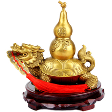 Feng Shui Wealth Prosperity Brass Cucurbit On Top Of A Dragon+Ancient Coins on Red String,Best Housewarming Congratulatory Gift