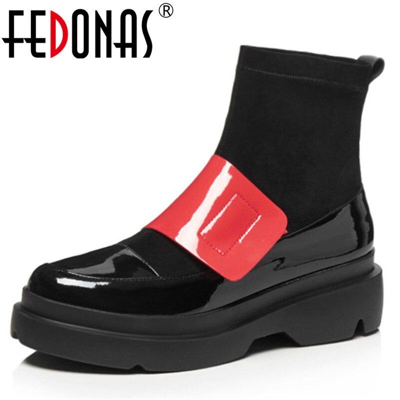 FEDONAS kostki buty dla kobiet moda Gladiator kliny obcasy damskie buty kobieta wiosna jesień motocykl buty platformy buty w Buty do kostki od Buty na  Grupa 1